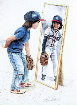 Baseball Player art print Ann Cockerill